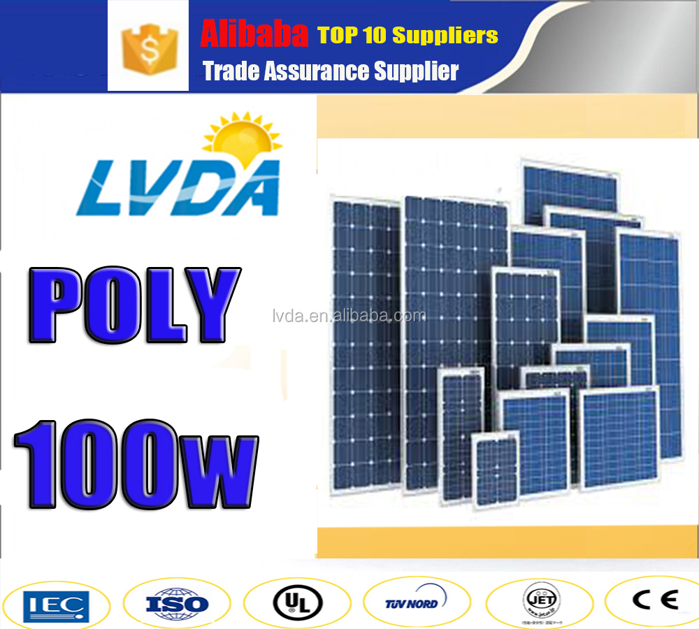 China good quality solar panel 100w /pv solar panel price 100w poly solar panel system for sale in European