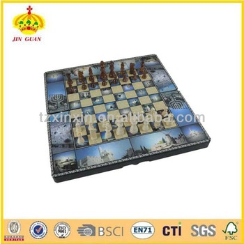 3 IN 1 Wooden game box with chess box 3217