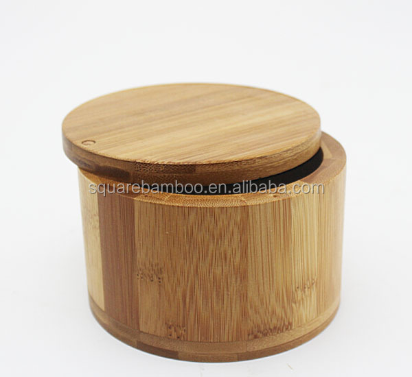 bamboo round salt box