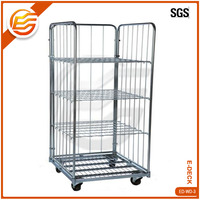 Steel Galvanized Four Side Wire Rolling Metal Storage Cage with Wheels