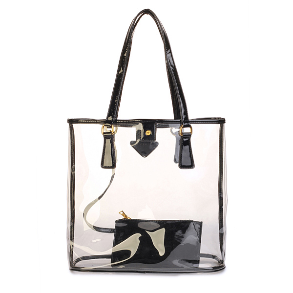 Wholesale transparent pvc tote bag clear pvc handbag with a small bag in black