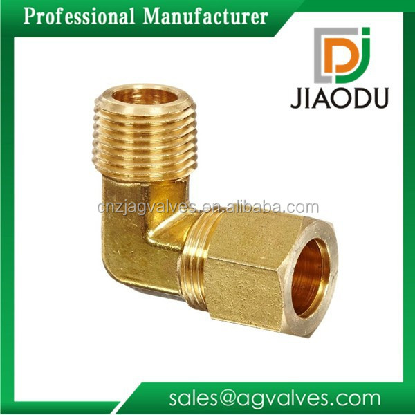 Top level new products Copper Brass Male Thread Compression Elbow Joint