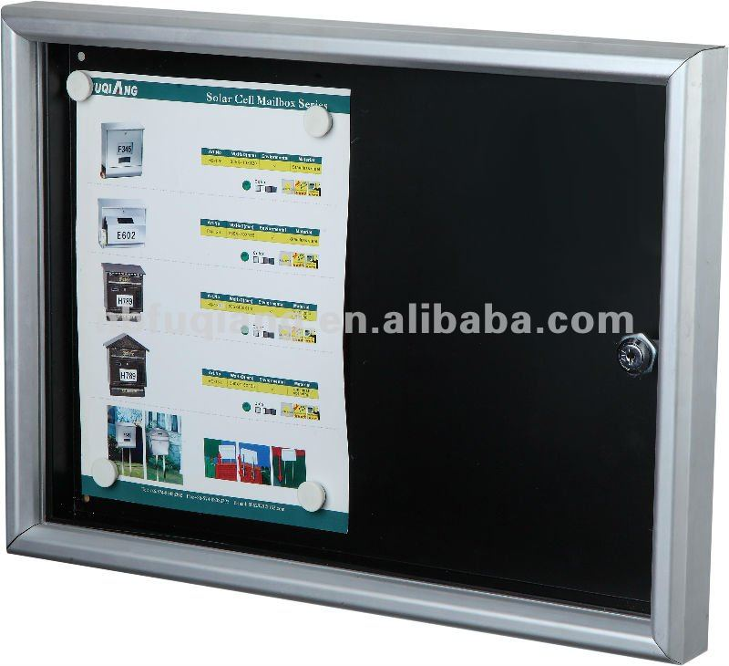 Aluminum frame lockable notice board with magnet, memo board, message board
