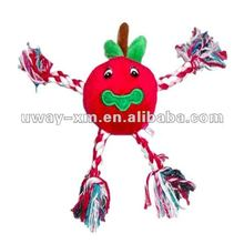 UW-038 Luxury red apple style cotton dog training toy, size is 22cm, with cotton rope