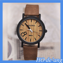 HOTop Selling Simulation Wooden Watch/Relojes Quartz Men Watch/Casual Wooden Color Leather Strap Watch