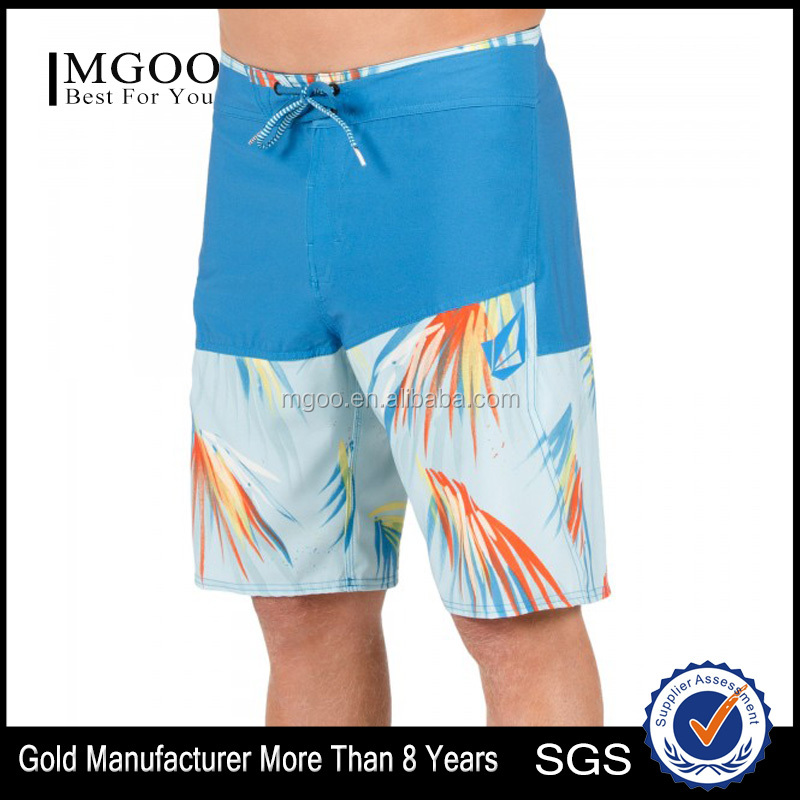 "20"" Outseam Custom Fabric Brand OEM Men Sexy Beach Shorts with Side Zip Welt Pocket Surfing Shorts"