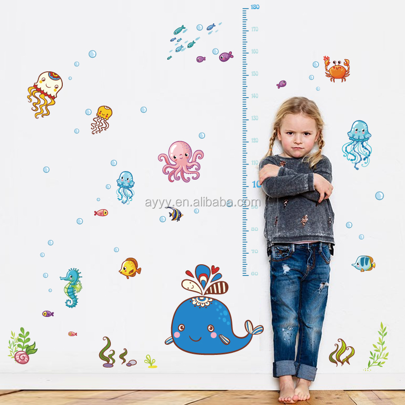 HM92014 The cartoon marine animals grow up children's height growth chart wall sticker DIY decorative kids room wall decal