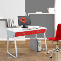 Glass Make Red Two Drawer Office