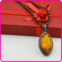 vintage style gun black plated large orange stone necklace(A109583)