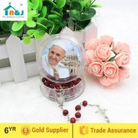 Passed SGS Test brown color wooden beads rosary with angel center piece Sell well item
