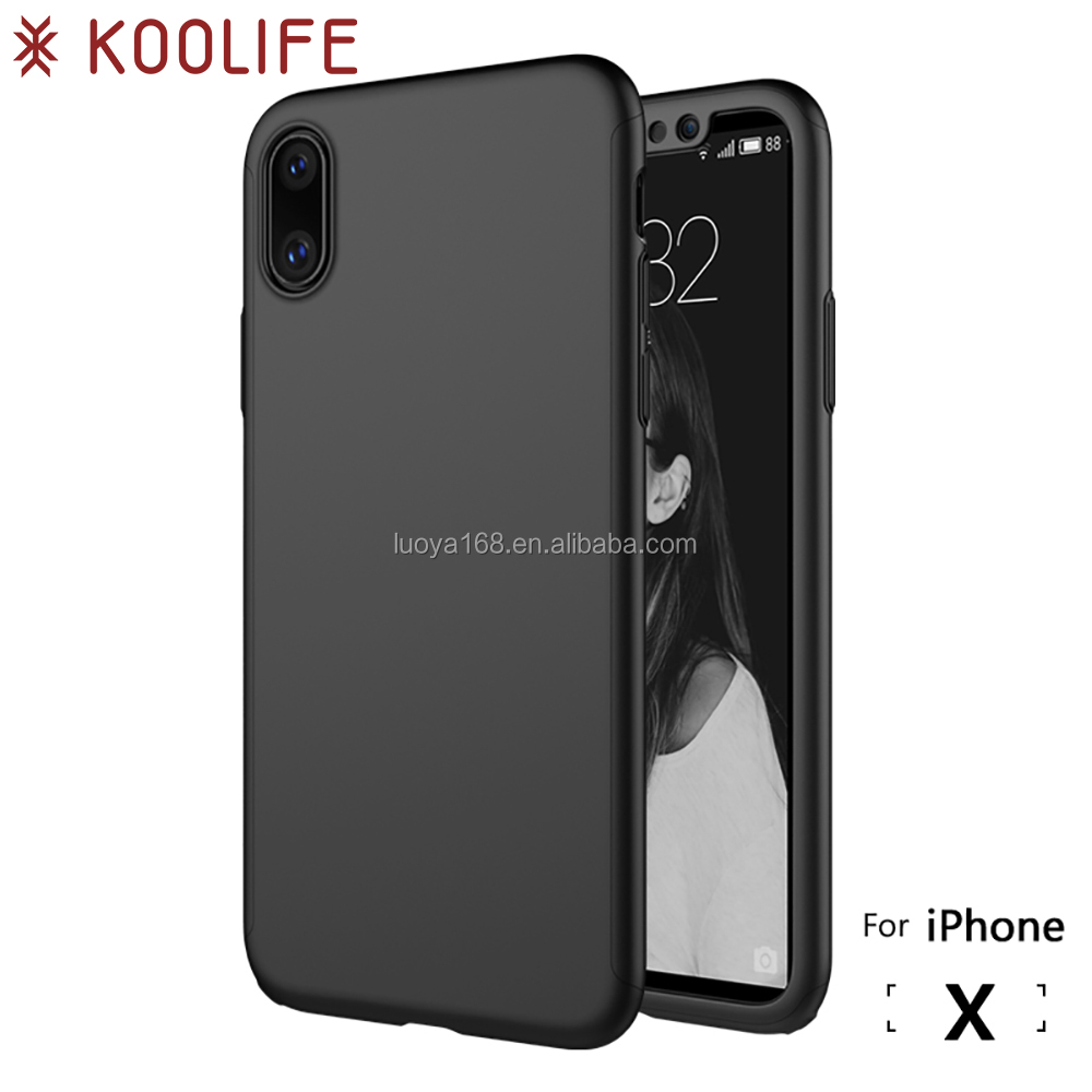 2017 New 360 full protect for iPhone X case back cover screen cover screen protector for iPhone X PC case rubber cover JS