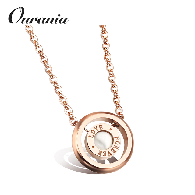 Fashion Stainless Steel Jewelry Necklace with White Shell Flat Round Word Forever Love Rose Gold Color Plated