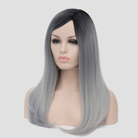 "20"" Woman Full Head Medium Long Natural Black To Grey Mixed Colored Heat Resistant Synthetic Hair Hallowmas Cosplay Wig"