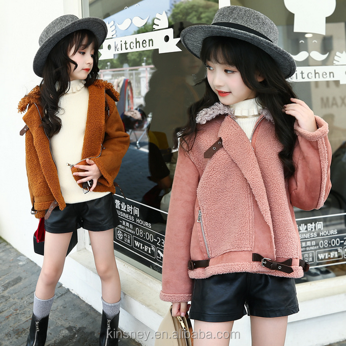 KS11105G Fashion girls winter faux fur biker jacket