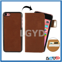 Custom Flannelette Horizontal Flip Leather + Detachable Plastic Case with Credit Card Slots for iPhone 5C