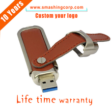 Promotional gift customzied logo real leather factory price OEM usb flash drive 16GB 512MB pen driver for free sample