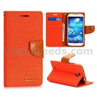 Mercury Goospery Canvas Diary Magnetic Flip Stand TPU+PU Leather Case for Samsaung Galaxy S4 I9500
