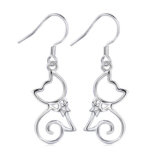 Genuine 925 Sterling Silver Earrings Cubic Zircon Cat Earrings Fashion Jewelry For Women