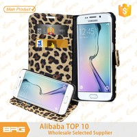 BRG Protective Leopard Leather Wallet Flip Stand Case For S6 Edge , Mobile Phone Cover For S6 Edge Accessories