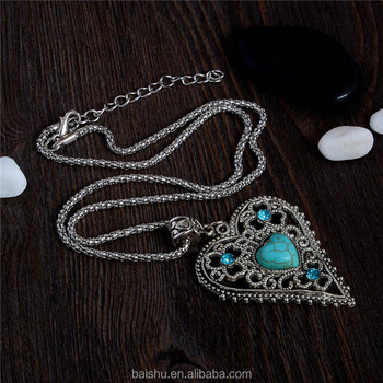 Natural Stone Crystal Heart Pendant Necklace Long Necklace Vintage turquoise necklaces jewelry