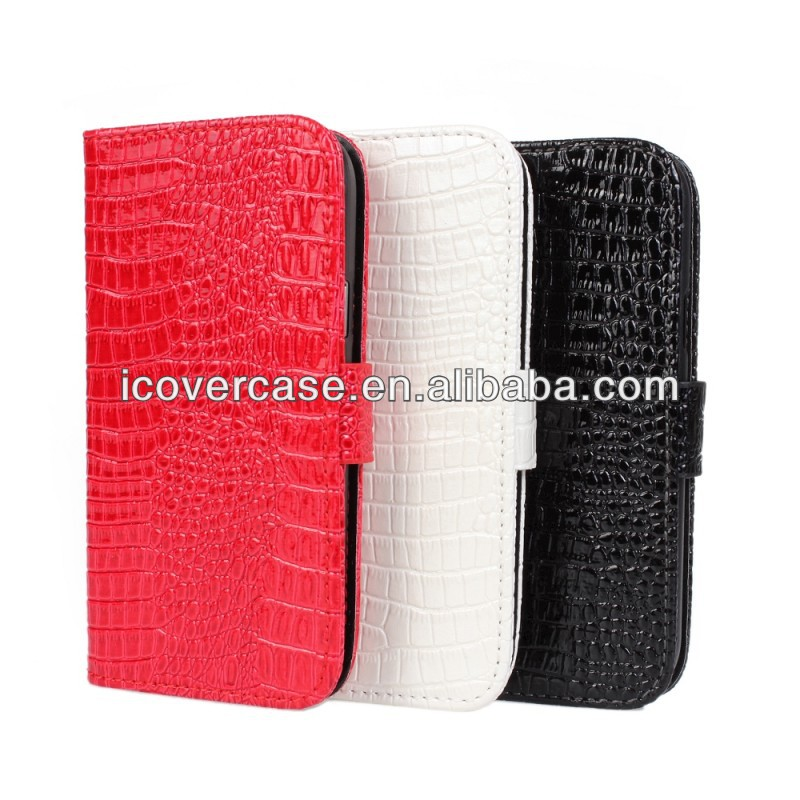 Hot Item Luxury Crocodile Croco Leather Case for Samsung Galaxy S4 Mini I9190 Card Holder Wallet Case Handbag