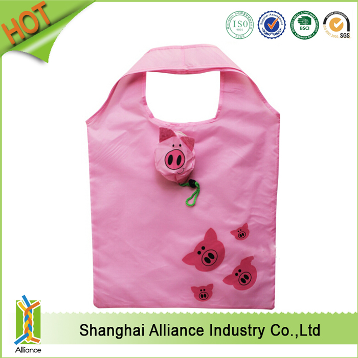 wholesale promotional advertising logo printed pig sharp foldable 190T bag