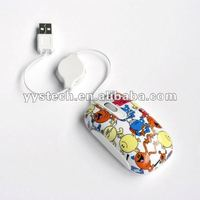 OEM mini retractable cartoon usb mouse for laptop