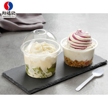 2017 clear disposable compartment plastic food packaging containers with lid,250ml/300ml disposable ice cream bowls with lids