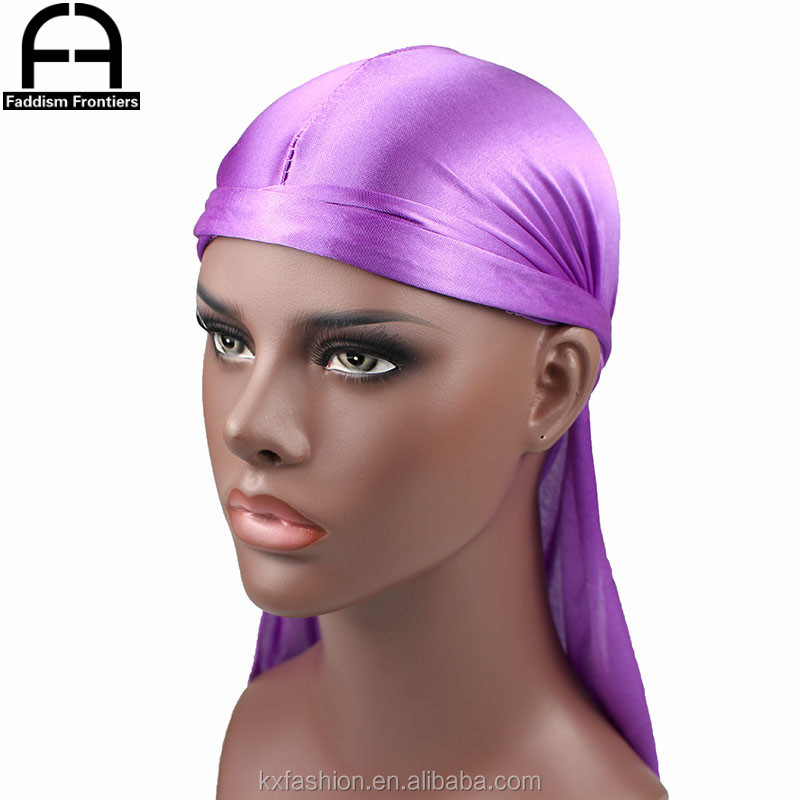 Factory High quality 100% Silky Durags Men Turban Hat Bandana Head Wrapper