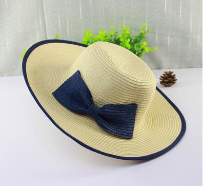 Hot selling stylish blank women girls sun visor caps with bowknot lace scarves topee Hand-woven sunhats straw summer beach hats