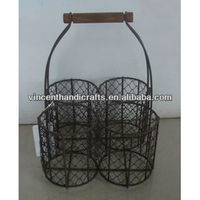 Rustic antique wire chicken wine bottle holder with wooden handle