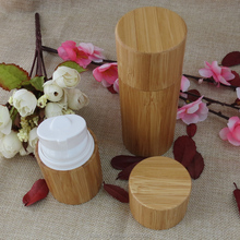 Natural cosmetic packaging 30ml 50ml Airless lotion bottle cover bamboo
