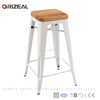 Replica Xavier Pauchard Style Wood top seat iron commercial stackable metal bar stool