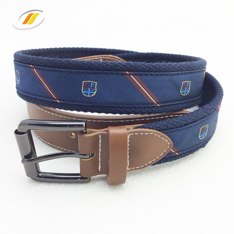 Men Canvas Fabric Genuine Leather Belt With Custom Logo
