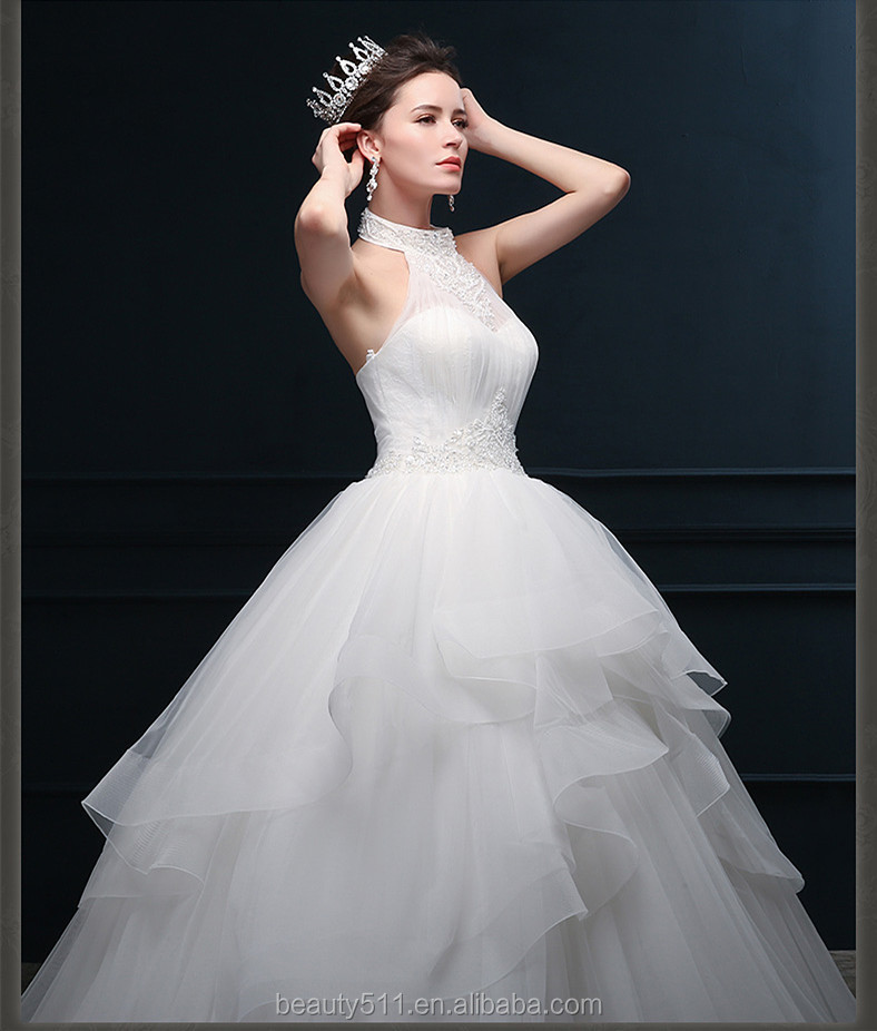 A-line Halter Sleeveless Lace-up Floor-length Lace Organza Ball gown wedding dresses WD1603