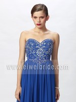 Charming Deep Blue Strapless Beaded Bodice Chiffon Layers Gown Big size Women Dress Evening Dress