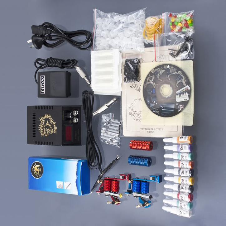 Professional Complete Tattoo Machine Kit 2 Gun Equipment Color Ink Power Supply Henna Tattoo Kit