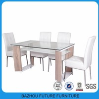 Modern Home furniture top glass wood frame dining table and leathe chair