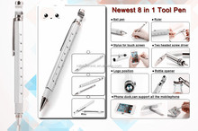 8 in 1 Aluminum Multi-Tool Screw Driver Pen Tool with gradienter,ruler,screw driver,silcone tip