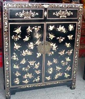 Antique painted wooden cabinet with butterflies & flowers LWB151