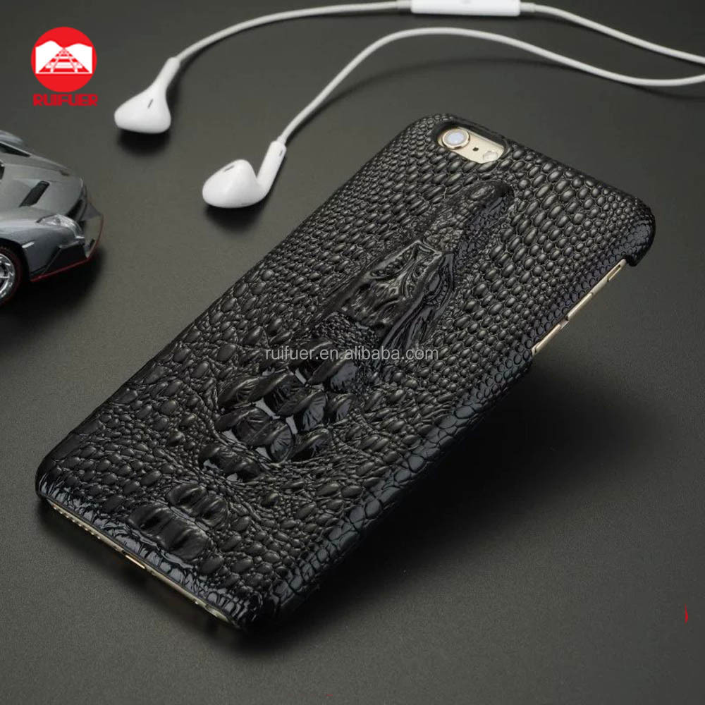 2016 Hot Cool Snap On Handmade 3D Crocodile Design Fashion Shell Hard 3D Crocodile Leather Case for Iphone 5 Se 6 6s Plus