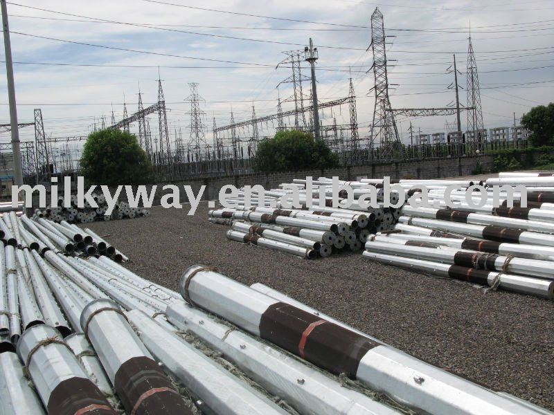 Low Voltage Galvanized Octagonal electrical power pole,electric fence poles