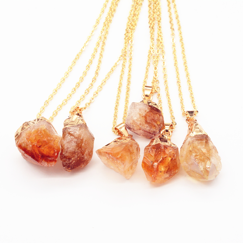 Citrine Raw Druzy Crystal Pendant Raw Stone <strong>Necklace</strong> With Gold Plated Chain