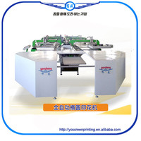 Korea Tech 16 Colors Full Automatic Oval Automatic Screen Printing Machine For T-shirt/Garments/Non-woven Fabric