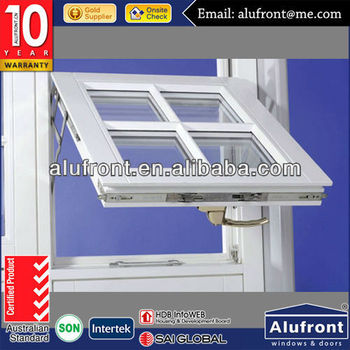 aluminum top hung window with manual crank handle