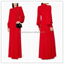 New Formal Party Design Red Wrap Draped Women's Long Evening Dress