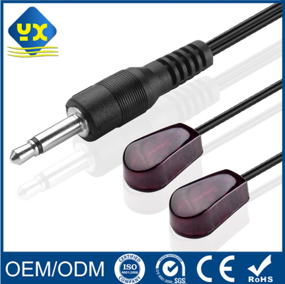 Dual Head IR Receiver Extention Cable Infrared Repeater System Emitter to 3.5mm Cable for HDTV DVD