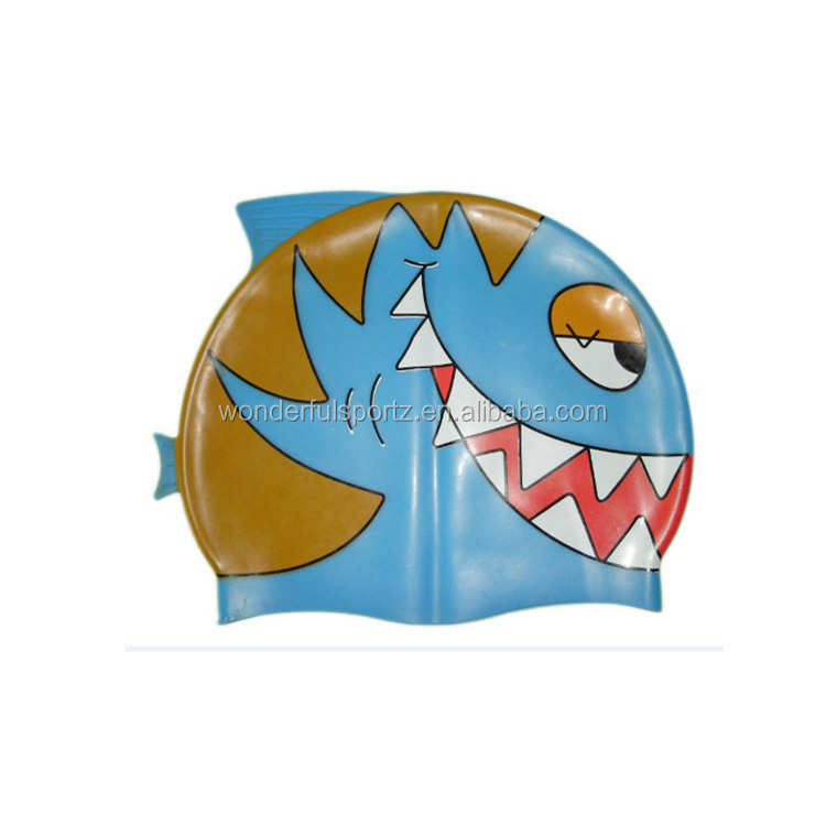 Shark and different fish shape kid silicone material swimming caps
