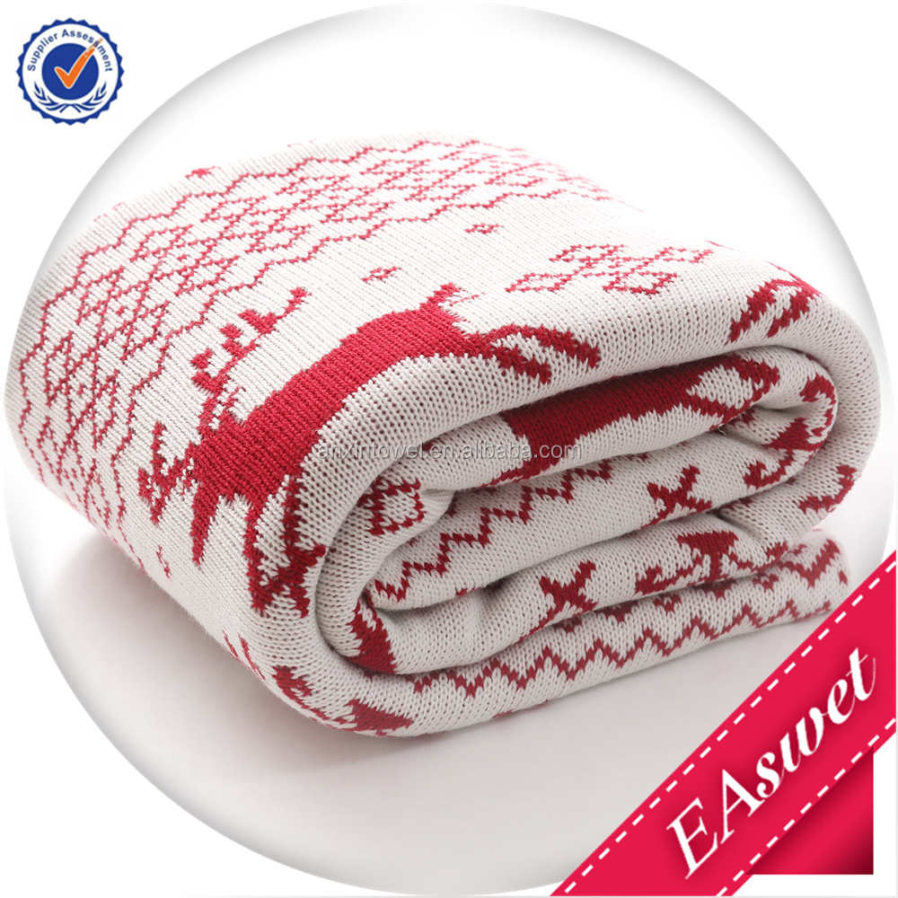 2015 New Design Jacquard Christmas Acrylic Knit Throw Blanket