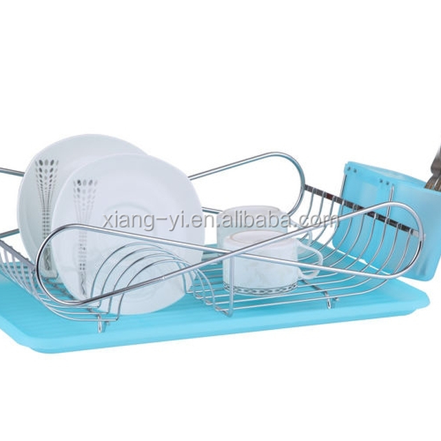 chrome plated wire dish rack with plastic cutlery holder and tray